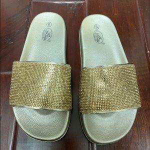 Bolaro Gold Glitter Slides